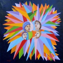 Donne-nell'universo-olio-su-tela-Oil-on-canvas--100-x-100-2016