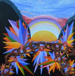 Fuga-dal-mondo--olio-su-tela-Oil-on-canvas--100-x-100-2016