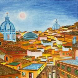PANORAMA-DI-ROMA---CHIESA-S.-CARLO-E-PANTHEON--olio-su-tela-Oil-on-canvas